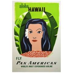 Pan American 1950s Hawaii Travel Poster, Kauffer