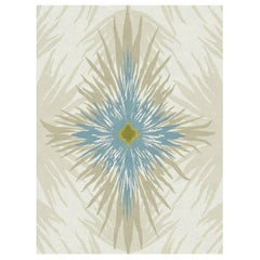 Pan Flower Custom Made Hand-Knotted Natural Blue Wool Rug by Allegra Hicks