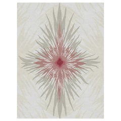 Pan Flower Custom Made Hand Knotted Natural Burgundy Wool Rug by Allegra Hicks