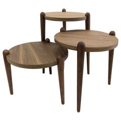 Pan Round Occasional Tables in Walnut