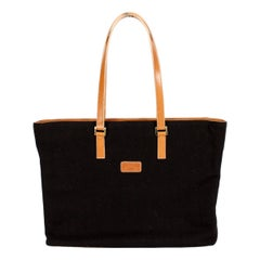Pancaldi Brown Wool Leather Shoulder Tote Bag