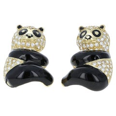 Panda Bear Diamond and Enamel Stud Earrings