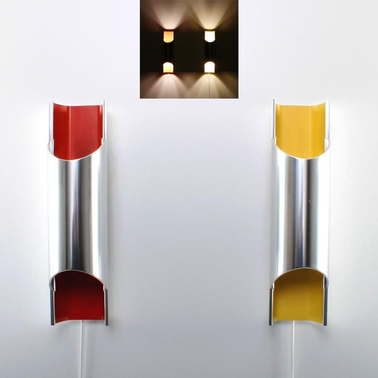 Pandean Aluminum and Yellow Sconce by Bent Karlby for Lyfa in 1970 In Good Condition For Sale In Brondby, Copenhagen