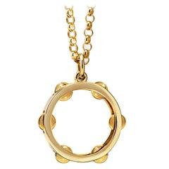 Pandeiro 9 Karat Gold Pendant