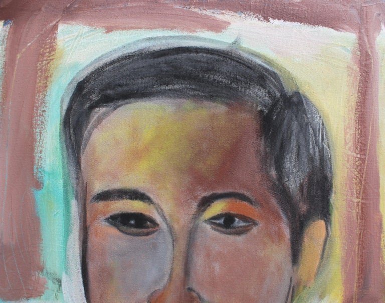 Portrait of a Young Man - Brown Portrait Painting by Pandi