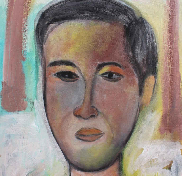 'Portrait of a Young Man' by Pandi, acrylic on stretched canvas. This piece was finished in early 2019 in Bali. It is a charming depiction of an anonymous, handsome young man with a serious gaze. Pandi's use of vivid colour brings life to the canvas