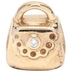 Pandora 14 Karat Yellow Gold Diamond Purse Charm