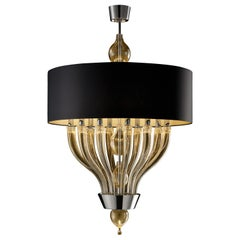 Pandora 5675 10 Suspension Lamp in Glass with Black/Gold Shade, by Barovier&Toso