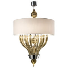Pandora 5675 10 Suspension Lamp in Glass with White Shade, by Barovier & Toso