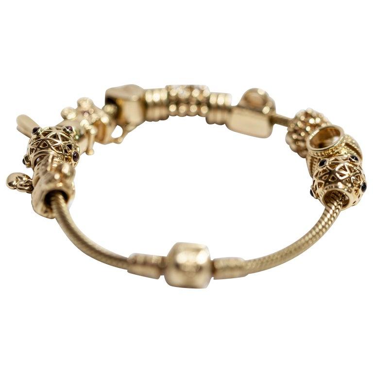 64d33e0ba Pandora Charm Bracelet 14 Karat Yellow Gold For Sale at 1stdibs