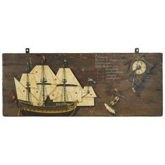Panel in Painted Wood, 20th Century with a Maritime Theme of a Gallion