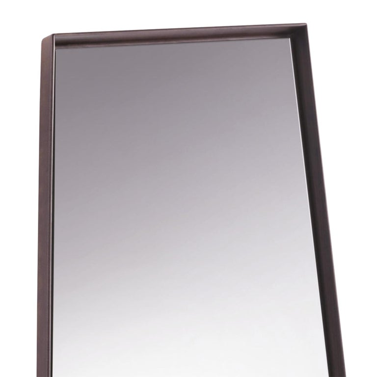Mirror panel large ash with solid ash wooden frame with mirror glass. Wall mirror or floor mirror.