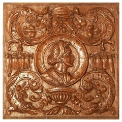 Panel, Late 19th Century, French, Antiquarian, Romayne, Carved, Oak