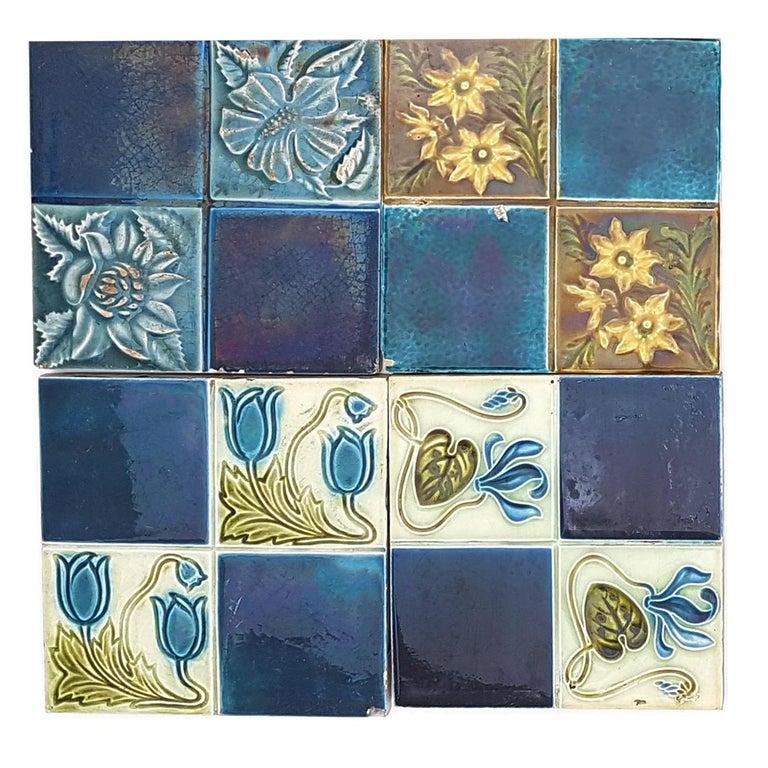 Panel of 16 Authentic Glazed Jugendstil Relief Tiles, circa 1930s For Sale 5