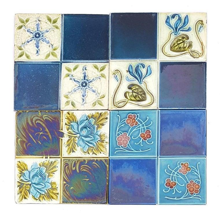 Panel of 16 Authentic Glazed Jugendstil Relief Tiles, circa 1930s For Sale 6