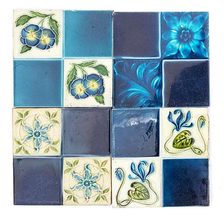 Panel of 16 Authentic Glazed Jugendstil Relief Tiles, circa 1930s For Sale 7