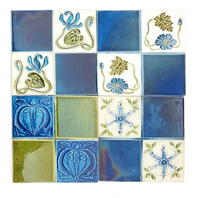Panel of 16 Authentic Glazed Jugendstil Relief Tiles, circa 1930s For Sale 9