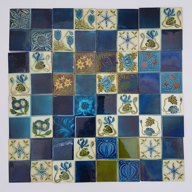 This is an amazing set of Art Jugenstil handmade tiles. A beautiful relief and color. with a different stylized designs. These tiles would be charming displayed on easels, framed or incorporated into a custom tile design.  Size each tile: 5.9 inches