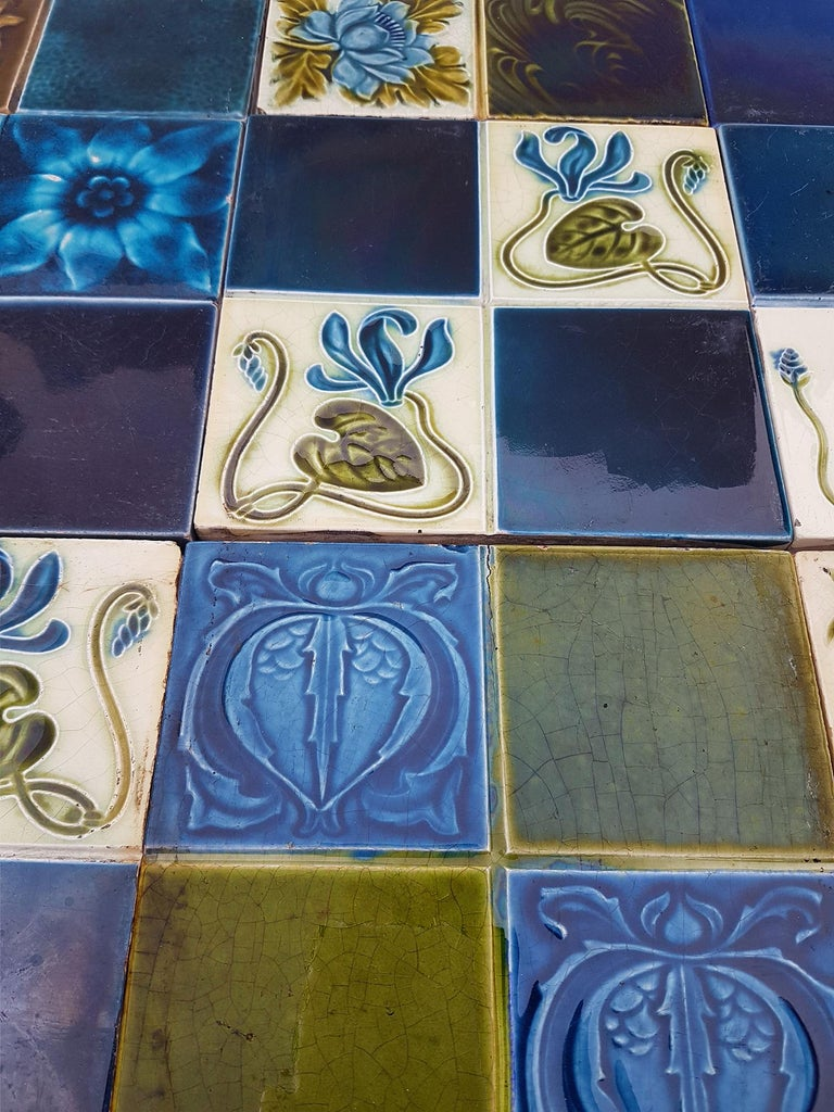 French Panel of 16 Authentic Glazed Jugendstil Relief Tiles, circa 1930s For Sale