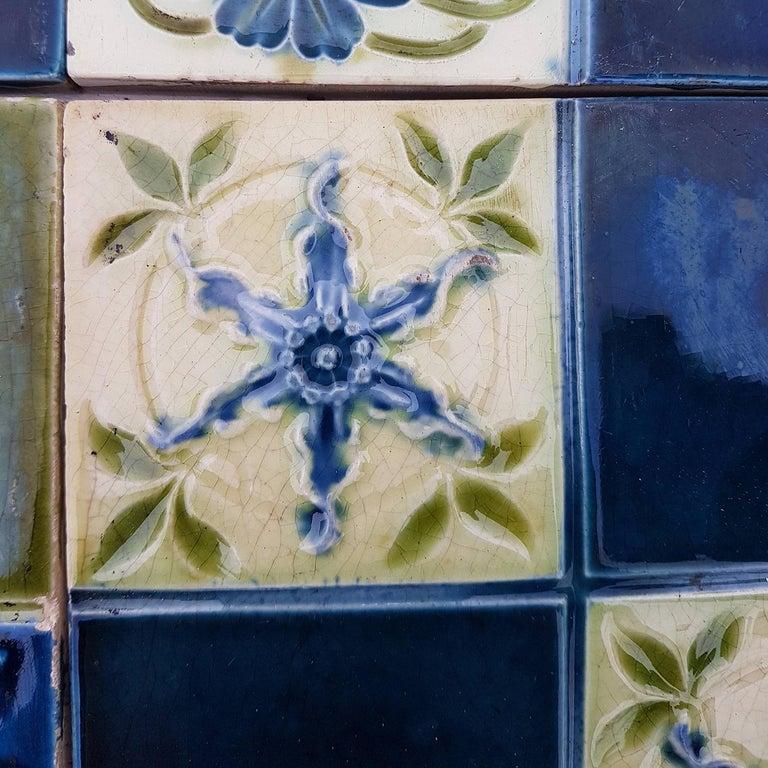 Panel of 16 Authentic Glazed Jugendstil Relief Tiles, circa 1930s In Good Condition For Sale In Rijssen, NL