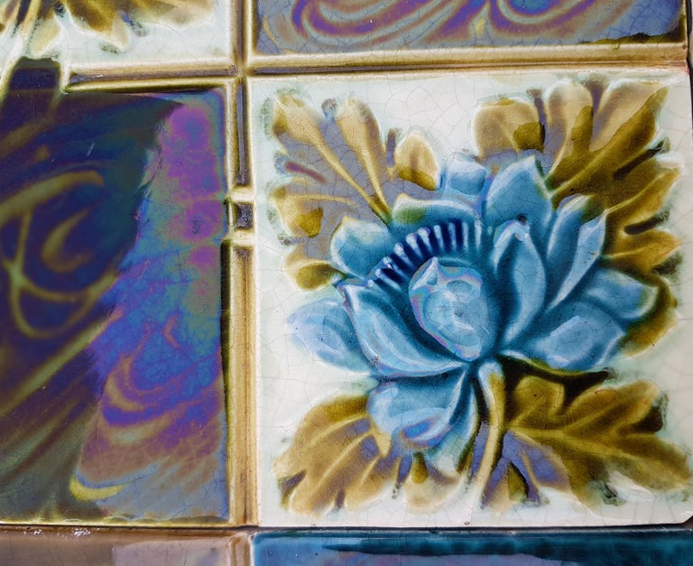Mid-20th Century Panel of 16 Authentic Glazed Jugendstil Relief Tiles, circa 1930s For Sale