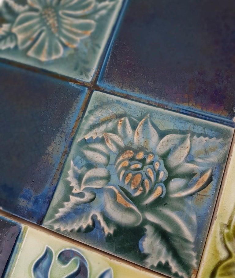 Ceramic Panel of 16 Authentic Glazed Jugendstil Relief Tiles, circa 1930s For Sale
