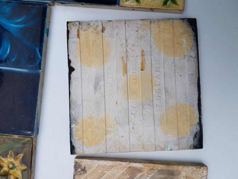 Panel of 16 Authentic Glazed Jugendstil Relief Tiles, circa 1930s For Sale 2