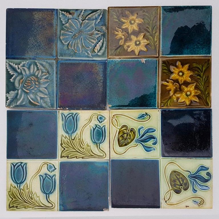 Panel of 16 Authentic Glazed Jugendstil Relief Tiles, circa 1930s For Sale 3