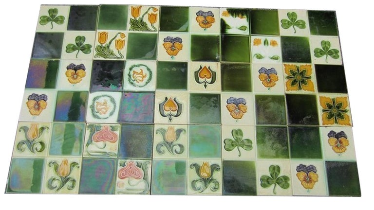 Panel of 16 Authentic Glazed Art Deco Relief Tiles, circa 1930s For Sale 4