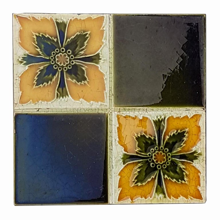 Mid-20th Century Panel of 16 Authentic Glazed Art Deco Relief Tiles, circa 1930s For Sale