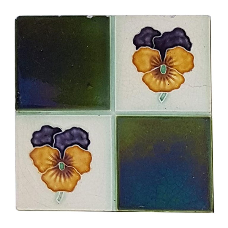 Ceramic Panel of 16 Authentic Glazed Art Deco Relief Tiles, circa 1930s For Sale