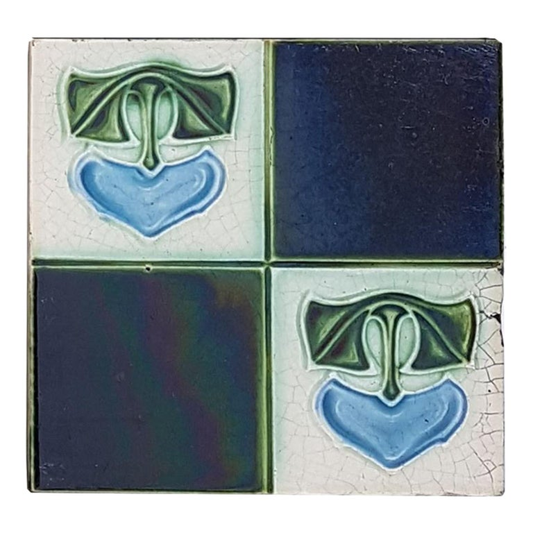 Panel of 16 Authentic Glazed Art Deco Relief Tiles, circa 1930s For Sale 1