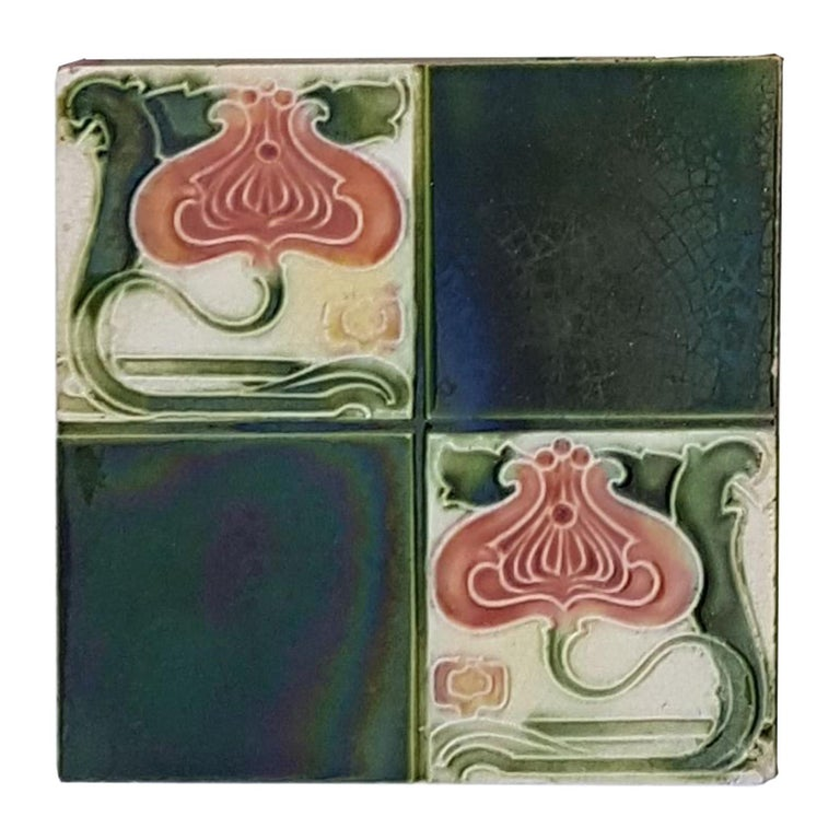 Panel of 16 Authentic Glazed Art Deco Relief Tiles, circa 1930s For Sale 2