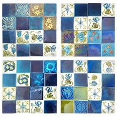 Panel of 16 Authentic Glazed Jugendstil Relief Tiles, circa 1930s