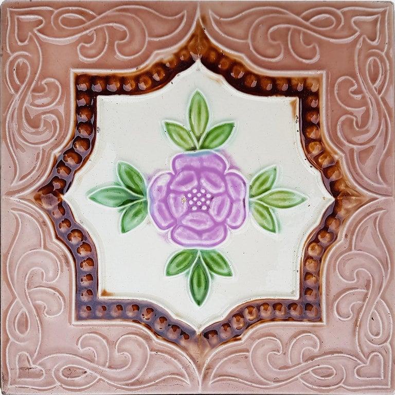 Panel of 25 Authenthic Glazed Art Deco Relief Tiles, Belga, circa 1930s For Sale 5