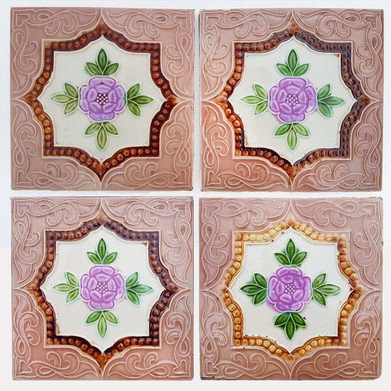 Panel of 25 Authenthic Glazed Art Deco Relief Tiles, Belga, circa 1930s For Sale 8