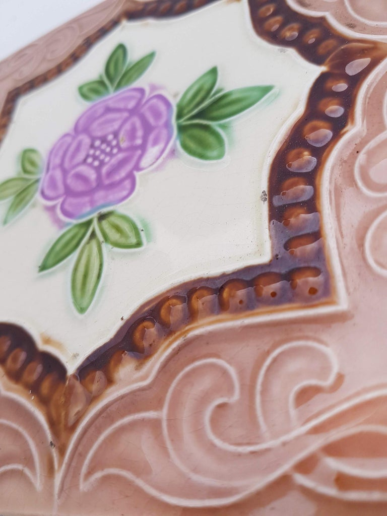 Panel of 25 Authenthic Glazed Art Deco Relief Tiles, Belga, circa 1930s For Sale 9