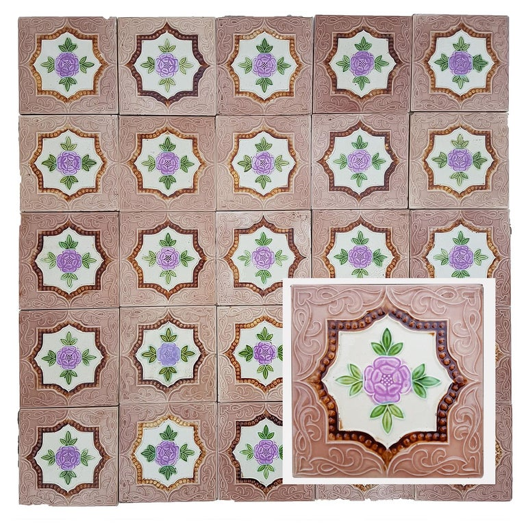 This is an amazing set of antique Art Deco handmade tiles. A beautiful relief and color. These tiles would be charming displayed on easels, framed or incorporated into a custom tile design.   Please note that the price is for the set. We sell them