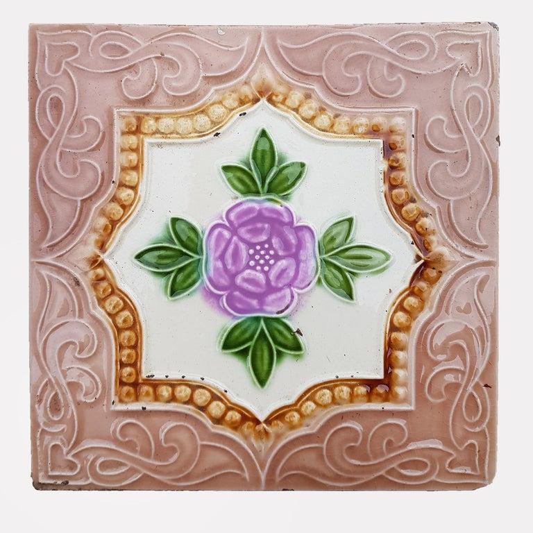 Belgian Panel of 25 Authenthic Glazed Art Deco Relief Tiles, Belga, circa 1930s For Sale