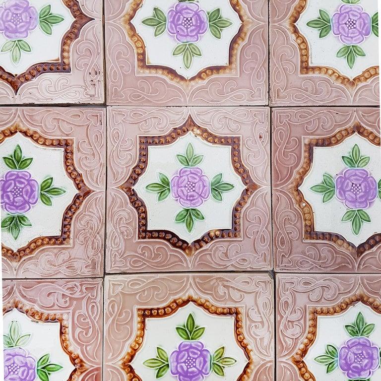 Mid-20th Century Panel of 25 Authenthic Glazed Art Deco Relief Tiles, Belga, circa 1930s For Sale