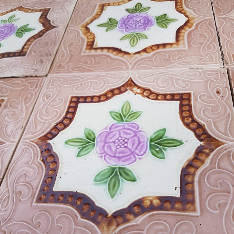 Ceramic Panel of 25 Authenthic Glazed Art Deco Relief Tiles, Belga, circa 1930s For Sale