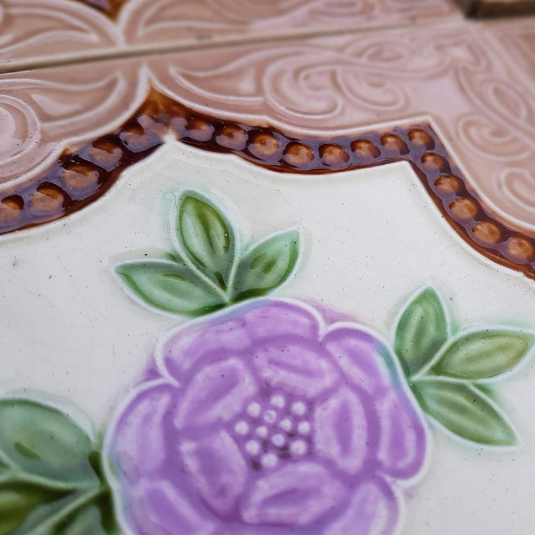Panel of 25 Authenthic Glazed Art Deco Relief Tiles, Belga, circa 1930s For Sale 1