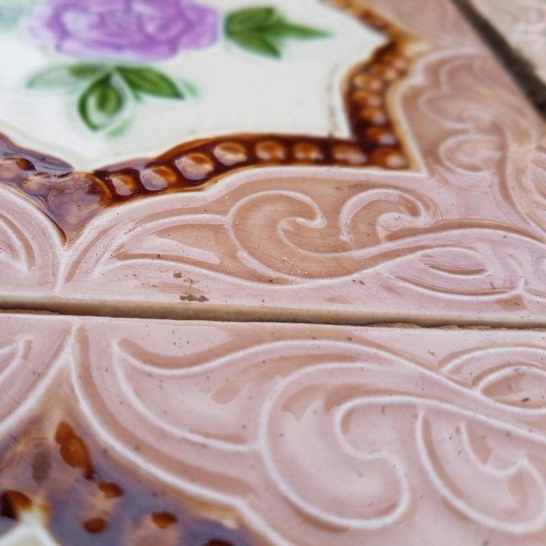Panel of 25 Authenthic Glazed Art Deco Relief Tiles, Belga, circa 1930s For Sale 2