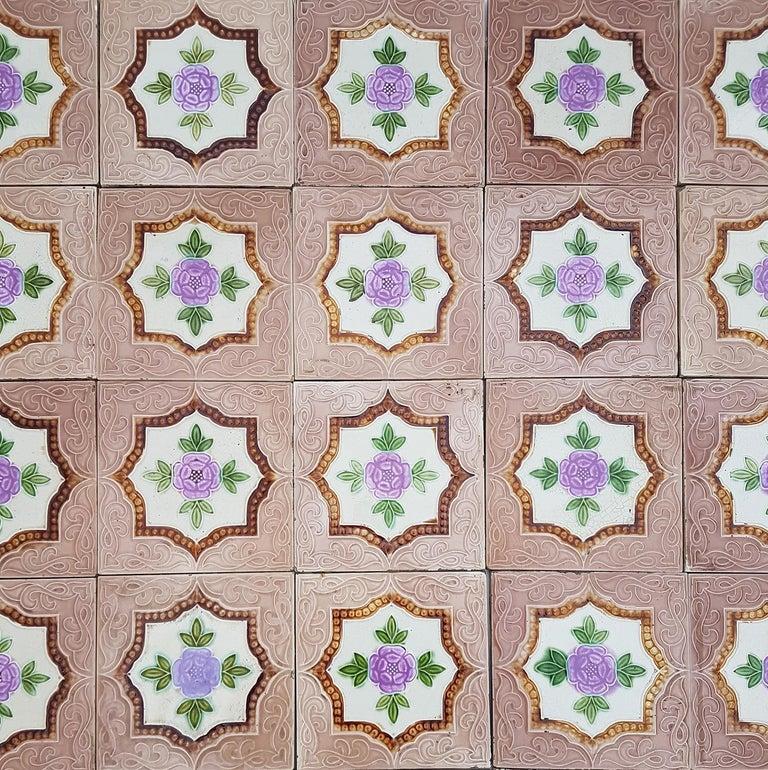 Panel of 25 Authenthic Glazed Art Deco Relief Tiles, Belga, circa 1930s For Sale 3