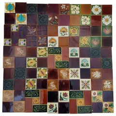 Panel of 25 Authenthic Handmade Jugendstil Relief Tiles, France, circa 1930