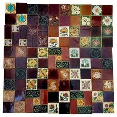 Panel of 25 Authentic Handmade Jugendstil Relief Tiles, France, circa 1930