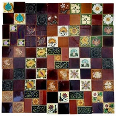Panel of 25 Authentic Handmade Jugendstil Relief Tiles, France, circa 1930