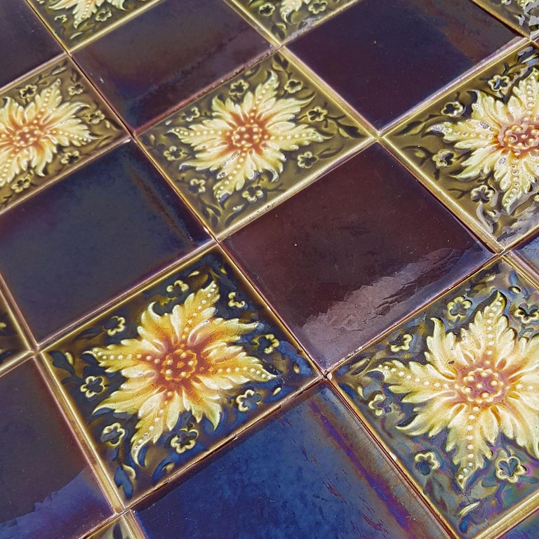Panel of 9 Glazed Art Deco Relief Tiles by S.A. Des Pavillions, 1930s For Sale 4