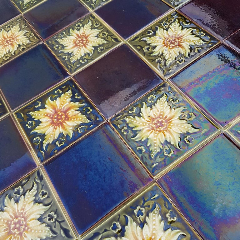 Panel of 9 Glazed Art Deco Relief Tiles by S.A. Des Pavillions, 1930s For Sale 5
