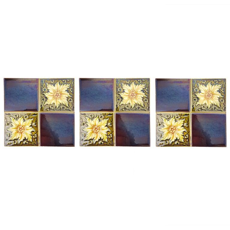 European Panel of 9 Glazed Art Deco Relief Tiles by S.A. Des Pavillions, 1930s For Sale